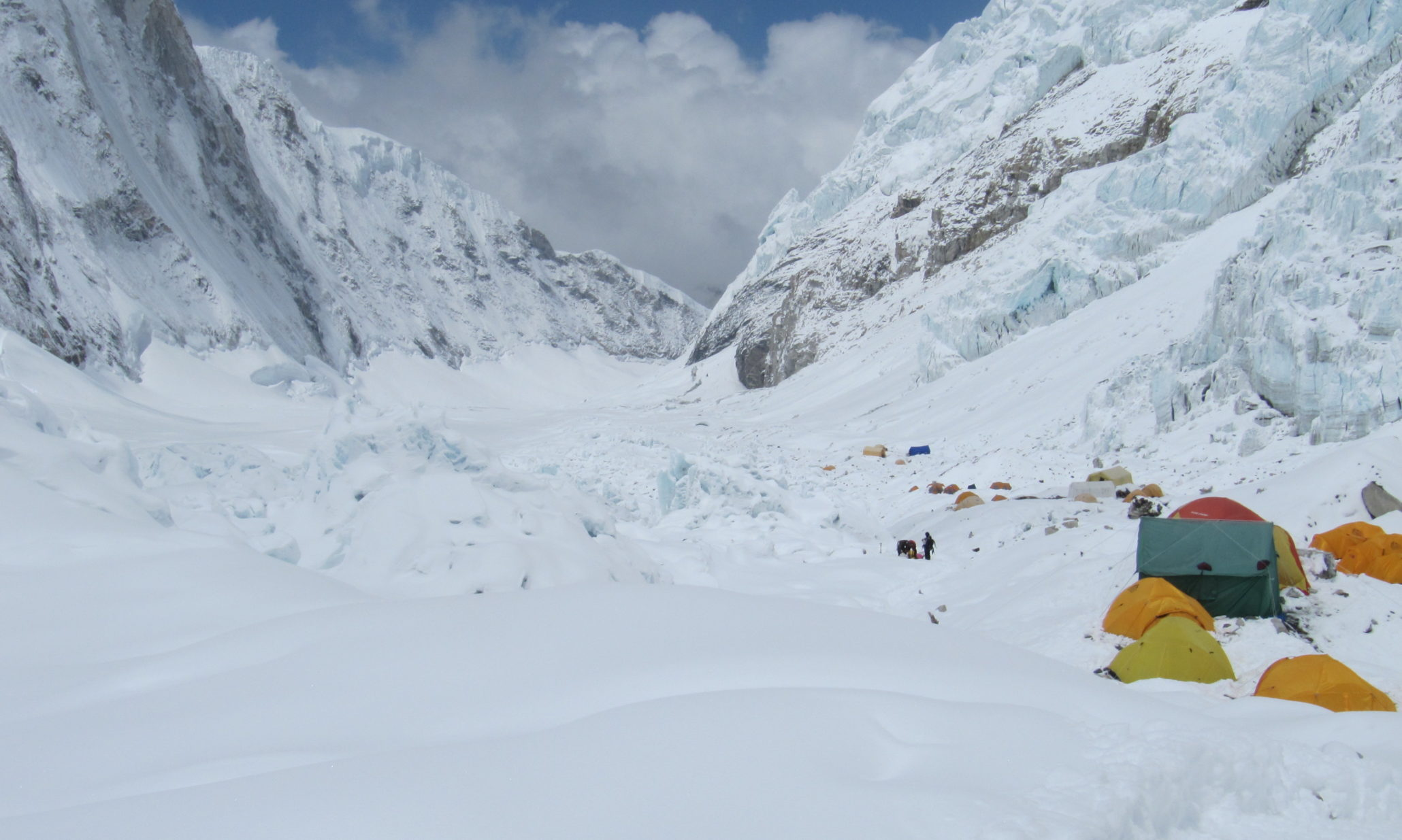 Everest base camp at the mountain covered with snow
