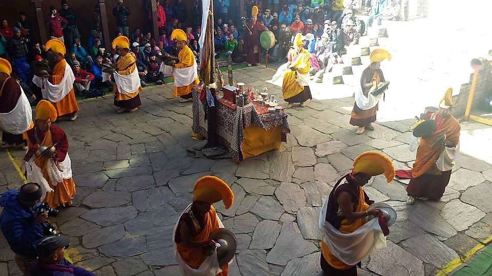 nepali people performing traditional festival event