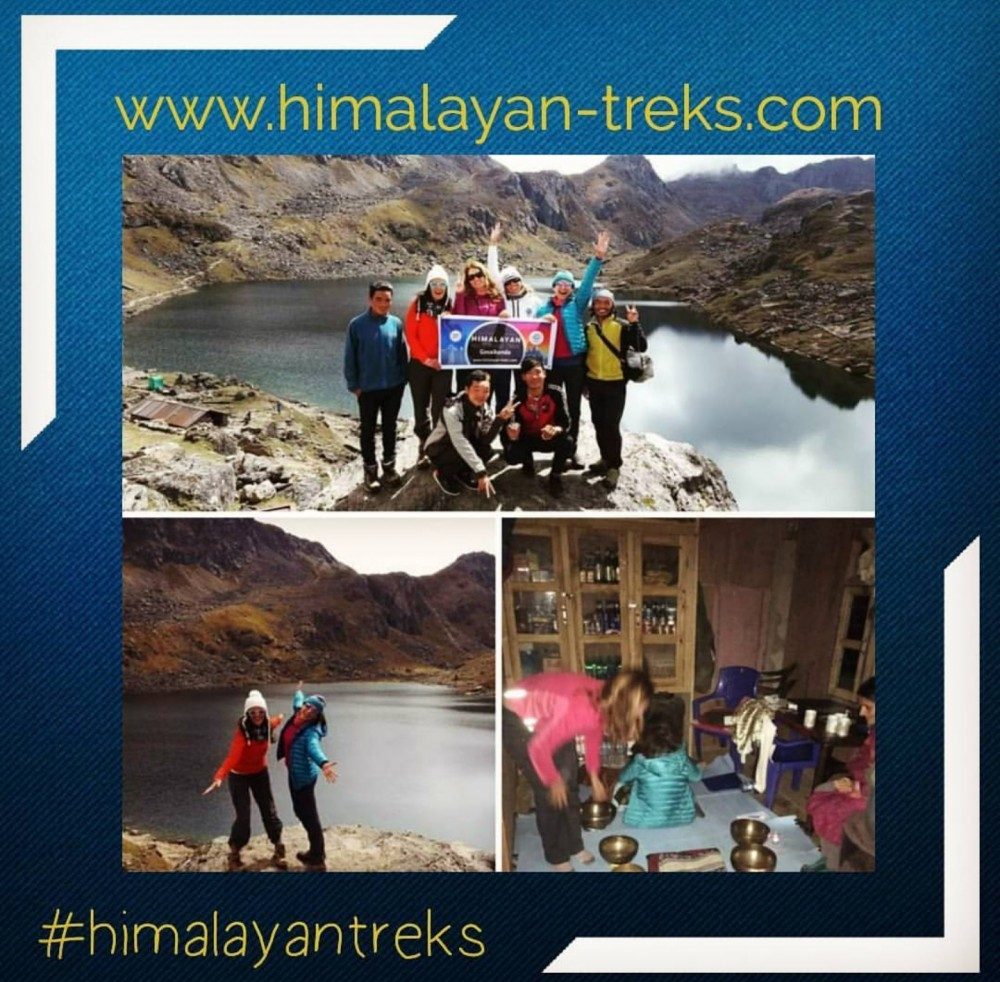 Group of people collage in a blue background in the Gosaikunda lake with a text of