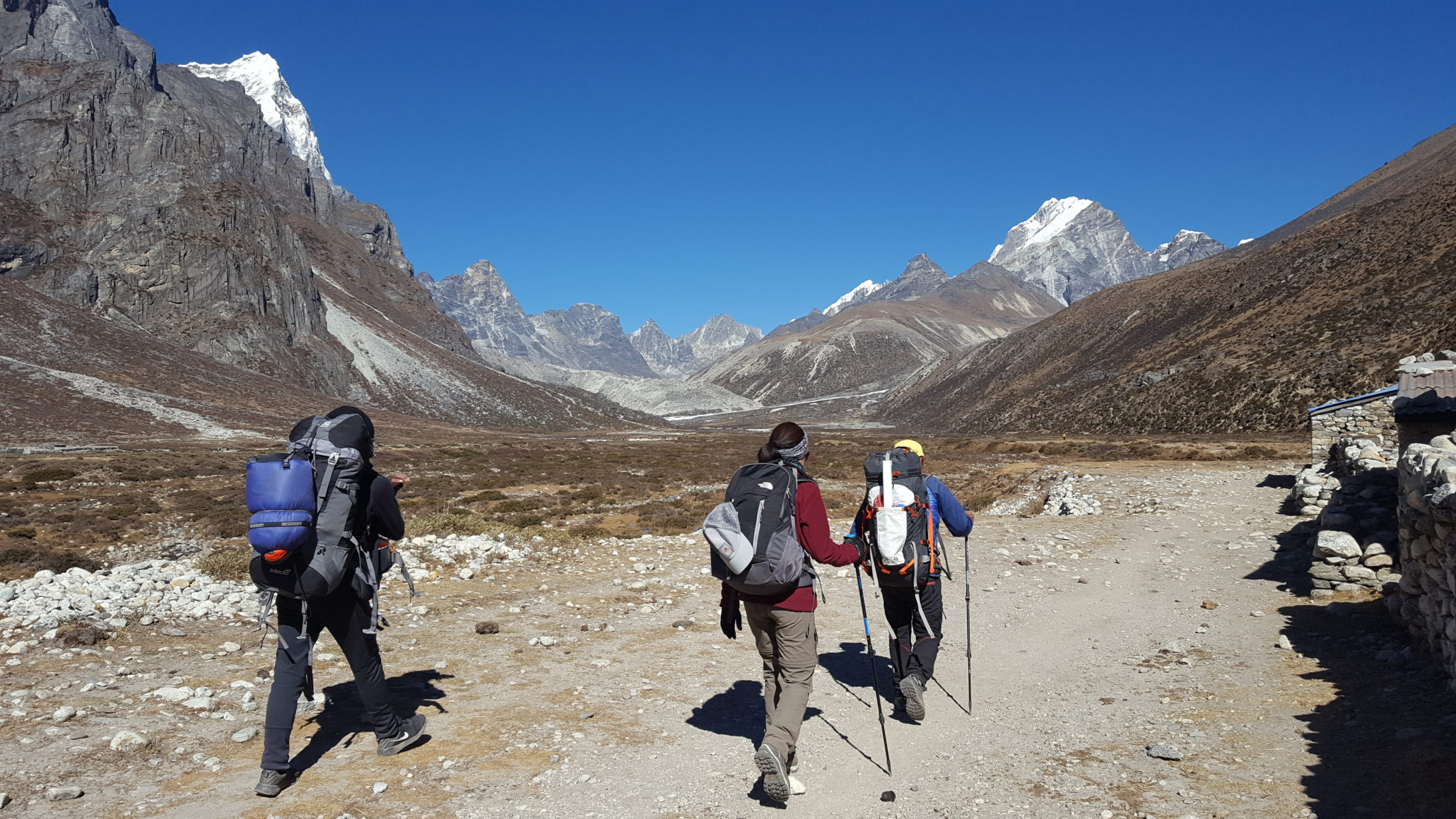 3 himalayan trekkers with their bag and stick
