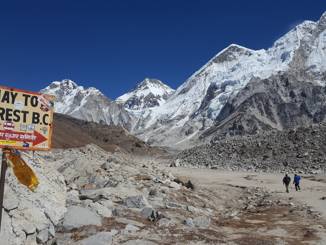 a signage near himlayan mountains saying