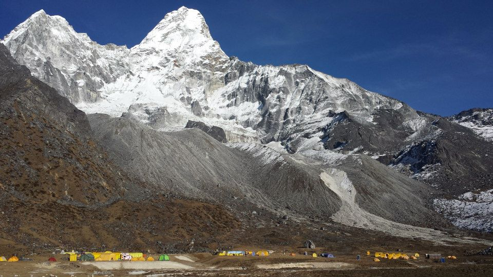base camp at the foot of ama dablam mountain