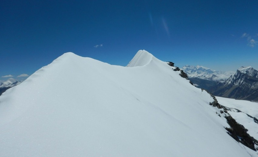 Snow peak view of chulu far east with clear sky.