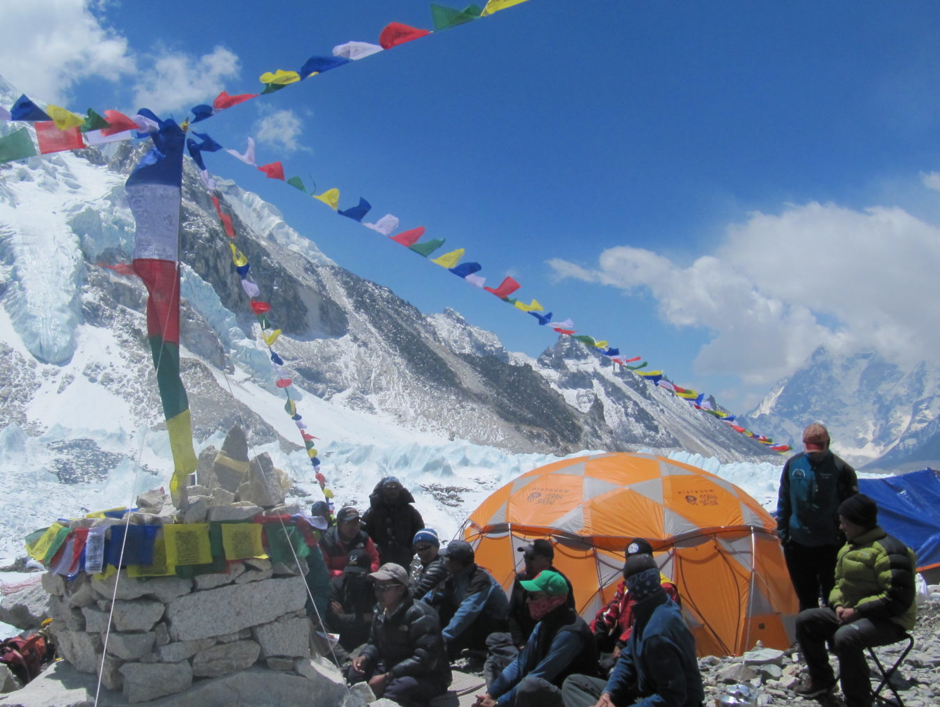 Everest base camp at the colorful prayer flag pole