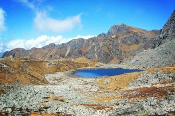 A clear water lake at the top of the mountain in Holy Gosaikunda.
