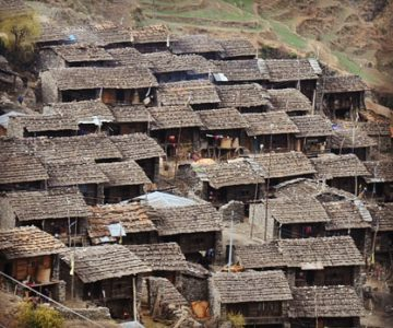 A top view of the houses in Tamang Villages.