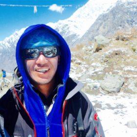 a close up image of a trekker named Chhiring Lama