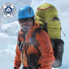 an image of a Sherpa in his mountaineering suit